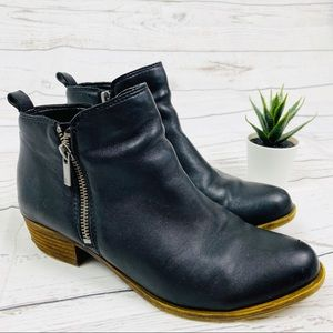 Lucky Brand Basel Black Leather Ankle Booties
